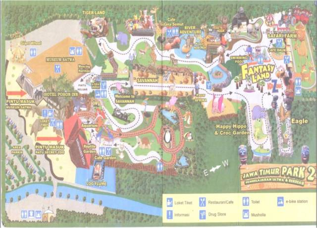 Denah atau rute  perjalanan di lokasi  Batu Secret Zoo