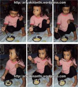 Kinan with ICe cream for the first time -pecah telor