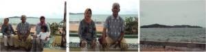Tanjung Pinang dengan background  Pulau Penyengat  dekat pelabuhan ferry