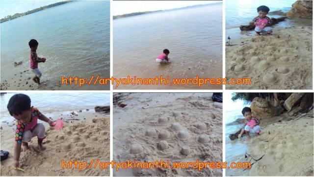 kinan main pasir dipantai