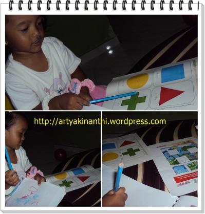 Kinan beraktifitas  mengenal bentuk geometri dan warna dari buncil Ayahbunda