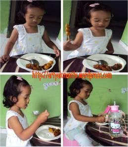 Kinan sehari setelah pulang dari rumah sakit, minta makan sendiri