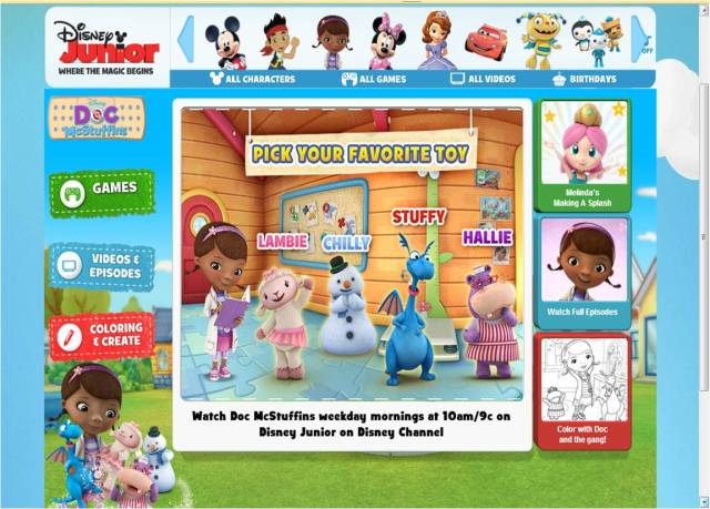 Doc mac Stuffins page di Disney Junior web (link disini)