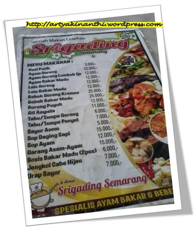 Menu di Meja Rumah Makan Srigading Tanjung Pinang