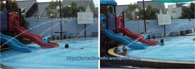 Anaknya senang,emaknya juga happy bisa berenang :)