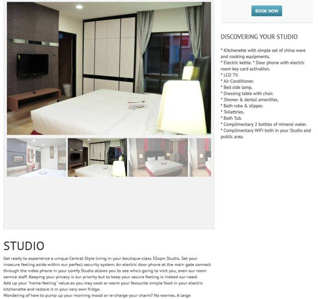 Studio Room  The Centro Hotel and Residence Batam (source from here)