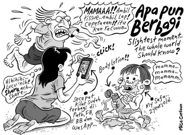 """Kartun Mice di harian kompas 20 October 2013 tentang """"apapun berbagi di jejaring sosial"""" sumber dari sini"""