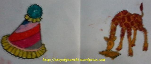 Hasi mencocok Kinan dan Kak Syifa setelah diwarnai dan ditempel :)