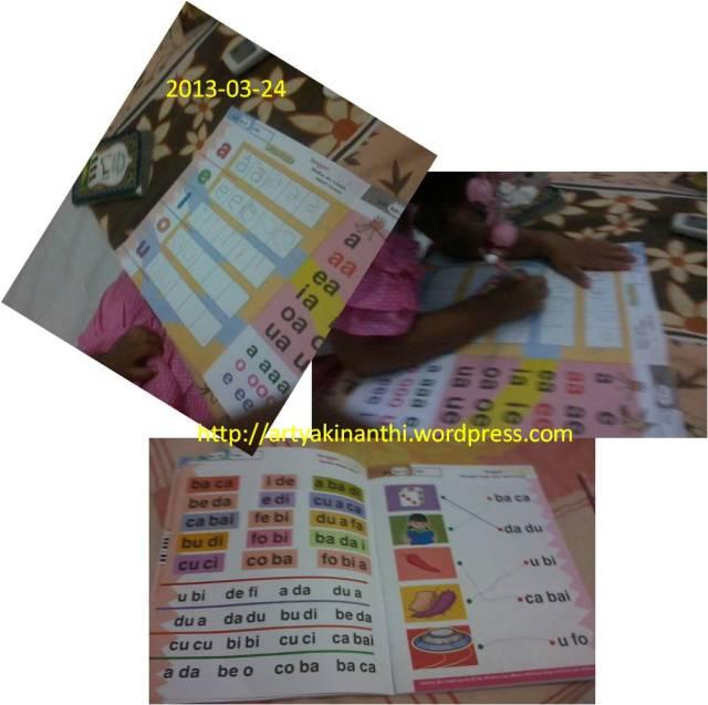 Bulan Maret 2013 ketika awal awal belajar membaca dan menulis dengan buku oranye