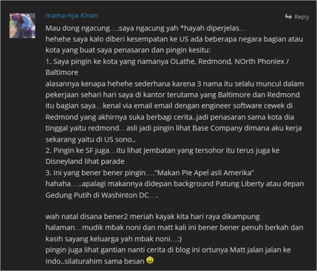 Komentar  di blog mbak noni