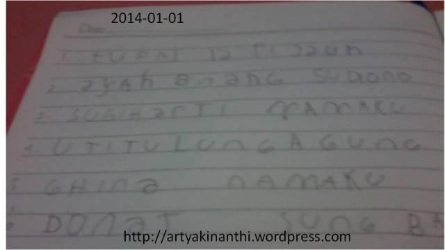 Belajar menulis dan dikte dengan hadiah pergi jalan beli Donut di Sung Bakery