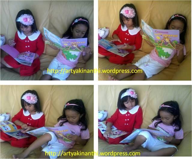 Kinan dan kak syifa ...bergiliran membaca dan saling mendengarkan..*emaknya moto candid..lucu mereka kalo membaca