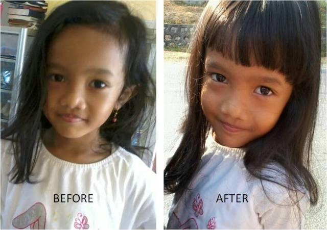 Cerita potong poni kinan (befor and after)...*hehehe