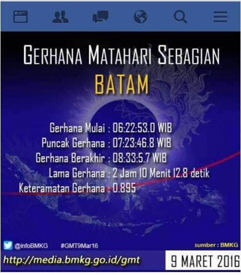 gerhana di wilayah Batam dan kepri